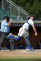 High Point-Thomasville HiToms catcher Jonathan Barham (35) (College of Charleston) makes a throw to second base against the Martinsville Mustangs at Finch Field on July 26, 2020 in Thomasville, NC.  The HiToms defeated the Mustangs 8-5. (Brian Westerholt/Four Seam Images)