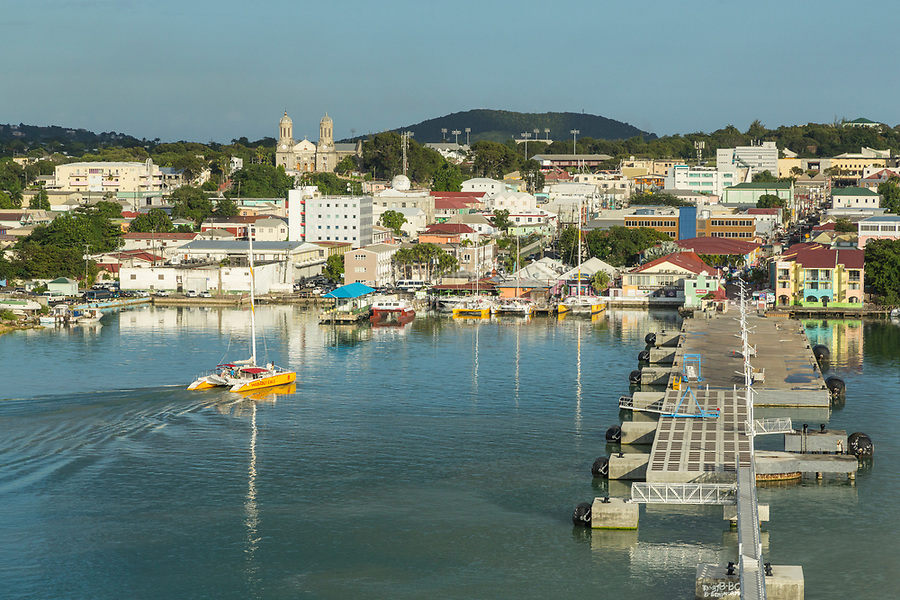 St. Johns, Antigua.  Harbor in Late Afternoon.  St. John's Cathedral on left in distance.