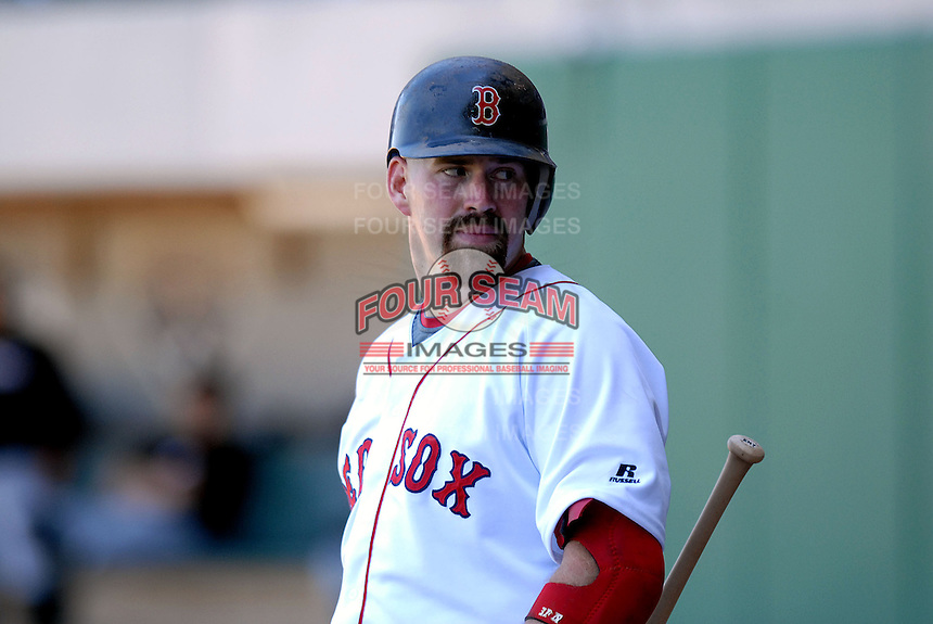 Boston Red Sox 1B Kevin Youkilis on a rehab assignment with the   Pawtucket Red Sox, the AAA International League affiliate of the Boston Red Sox, in action vs. the Buffalo Bisons at McCoy Stadium in Pawtucket, RI 5-19-09 (Photo by Ken Babbitt/Four Seam Images)