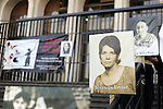 Photographs of victims are seen outside of the Supreme Court of Justice Guatemala CIty. The first day of trial of  March 19, 2013.  Former Guatemalan dictator, Efrain Rios MonttIn.