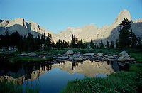Reflection of mountains in lake<br />