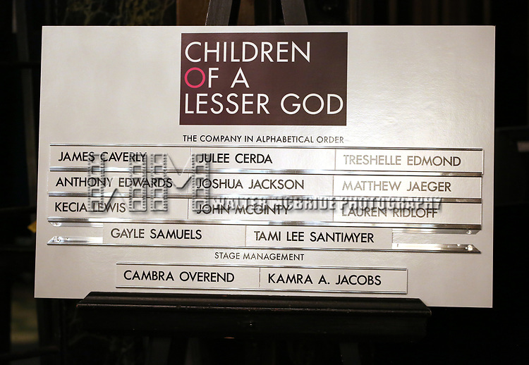 Lobby cast board for the Broadway opening night performance of 'Children of a Lesser God' at Studio 54 Theatre on April 11, 2018 in New York City.