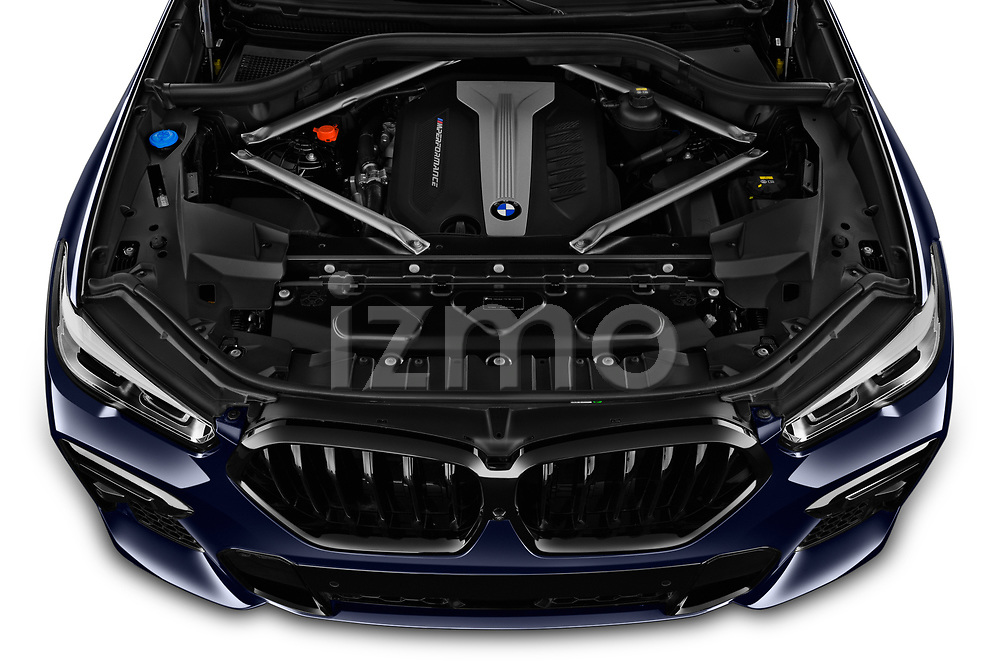 Car stock 2020 BMW X6 Base 5 Door SUV engine high angle detail view