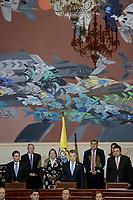 BOGOTÁ -COLOMBIA. 20-07-2017: Mauricio Lizcano (Izq) presidente del Senado, Juan Manuel Santos (C) Presidente de Colombia, y Miguel Angel Pinto (Der) presidente de la Cámara de Representantes, durante la ceremonia de instalación de la legislatura 2017 2018 del Congreso de la República de Colombia realizado hoy, 20 de julio de 2017, en el salón Elíptico del Capitolio Nacional de Colombia en la ciudad de Bogotá. / Mauricio Lizcano (L) president of Senate, Juan Manuel Santos (C) President of Colombia, and Miguel Angel Pinto (R) president of the House of Representatives, during the ceremony of installation of the Legistature 2017 2018 of the Congress of the Republic of Colombia made today,  July 20 2017, at Ellipptical room of the National Capitol of Colombia in Bogota city . Photo: VizzorImage/ Gabriel Aponte / Staff