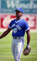 Toronto Blue Jays catcher Carlos Delgado during Spring Training 1993 at Charlotte Sports Park in Port Charlotte, Florida.  (MJA/Four Seam Images)