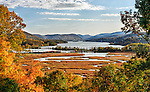 A view looking south from the grounds of the Boscobel mansion in Cold Spring, NY, showing Constitution Marsh and the Hudson River in autumn.