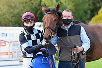 Winner of The Consign With Byerley Stud Handicap (Div 1)     The Kings Steed (left) ridden by Kieran Shoemark and trained by Shaun Lycett in the Winners enclosure during Horse Racing at Salisbury Racecourse on 1st October 2020