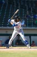 Surprise Saguaros third baseman Vladimir Guerrero Jr. (27), of the Toronto Blue Jays organization, at bat during an Arizona Fall League game against the Mesa Solar Sox at Sloan Park on November 1, 2018 in Mesa, Arizona. Surprise defeated Mesa 5-4 . (Zachary Lucy/Four Seam Images)