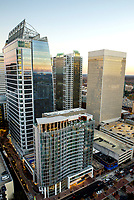 Charlotte North Carolina skyline photography. <br /> Photography of the new Kimpton Tryon Park Hotel and 300 South Tryon Building as well as Baring building in Uptown/Downtown Charlotte. Photography of Charlotte's newest high-rise office towers. <br /> <br /> Charlotte Photographer - PatrickSchneiderPhoto.com