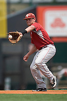 Shortstop Caleb Bushyhead #5 of the Oklahoma Sooners warms up before the game against the Texas Longhorns in NCAA Big XII baseball on May 1, 2011 at Disch Falk Field in Austin, Texas. (Photo by Andrew Woolley / Four Seam Images)