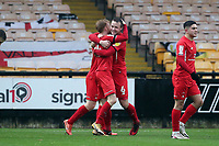 O's Josh Coulson (right) celebrates with winning goalscorer James Brophy during Port Vale vs Leyton Orient, Sky Bet EFL League 2 Football at Vale Park on 28th November 2020