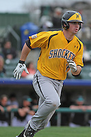 Wichita State Shockers outfielder Daniel Kihle #18 at bat during a game against the Coastal Carolina Chanticleers at Ticketreturn.com Field at Pelicans Ballpark on February 23, 2014 in Myrtle Beach, South Carolina. Wichita State defeated Coastal Carolina by the score of 5-2. (Robert Gurganus/Four Seam Images)