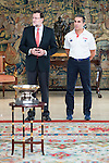 The reception of Prime Minister Mariano Rajoy to Spain national basketball team gold at EuroBasket 2015 at Moncloa Palace in Madrid, 21 September, 2015.<br /> Prime Minister Mariano Rajoy and Coach Sergio Scariolo.<br /> (ALTERPHOTOS/BorjaB.Hojas)