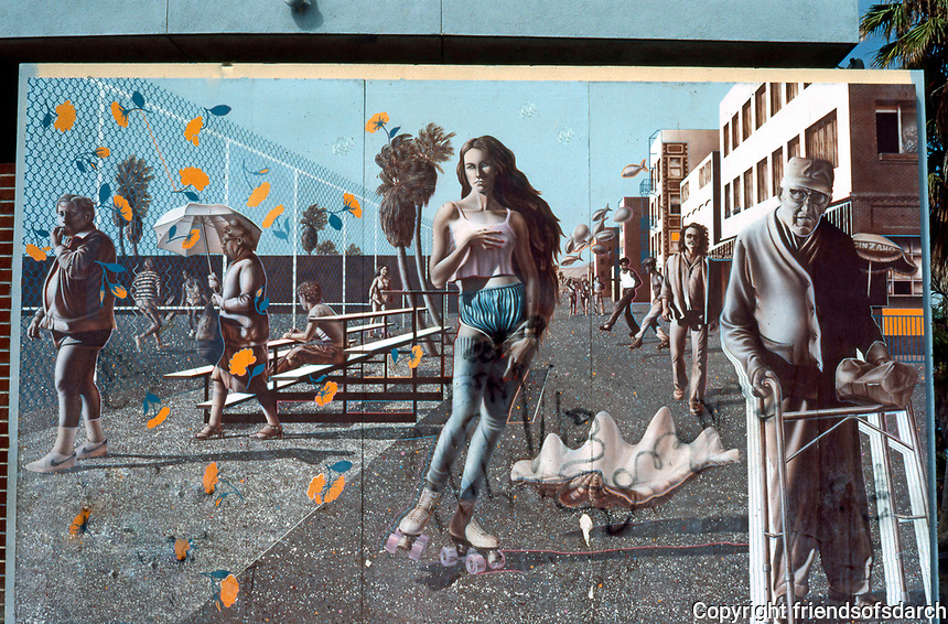 "Venice CA: Street Mural, ""Venice on the Half Shell"", R. Cronk 1981. Venice Pavilion.  Photo '84."