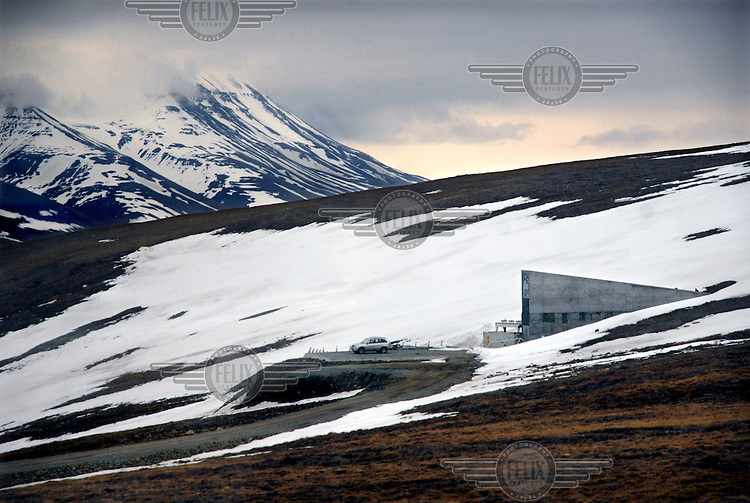 A view of mountains around the entrance to the Svalbard Global Seed Vault. Underground are caverns containing seeds from all over the world.