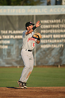 Cullen Large (6) of the Vancouver Canadians in the field during a game against the Salem-Keizer Volcanoes at Volcanoes Stadium on July 24, 2017 in Keizer, Oregon. Salem-Keizer defeated Vancouver, 4-3. (Larry Goren/Four Seam Images)