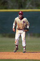 Boston College Eagles second baseman Jake Palomaki (11) during a game against the Ohio State Buckeyes on March 6, 2016 at North Charlotte Regional Park in Port Charlotte, Florida.  Boston College defeated Ohio State 6-2.  (Mike Janes/Four Seam Images)