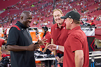 LOS ANGELES, CA - SEPTEMBER 11: Bernard Muir talks on the sideline with Honorary Captains Adam Keefe and Jimmy Klein before a game between University of Southern California and Stanford Football at Los Angeles Memorial Coliseum on September 11, 2021 in Los Angeles, California.