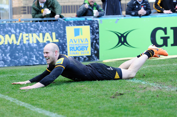 Joe Simpson of London Wasps scores a try during the Aviva Premiership match between London Wasps and Sale Sharks at Adams Park on Saturday 1st March 2014 (Photo by Rob Munro)
