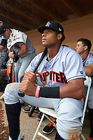 Jupiter Hammerheads right fielder John Norwood (22) poses in the dugout for a rain delay during a game against the Lakeland Flying Tigers on March 14, 2016 at Henley Field in Lakeland, Florida.  Lakeland defeated Jupiter 5-0.  (Mike Janes/Four Seam Images)