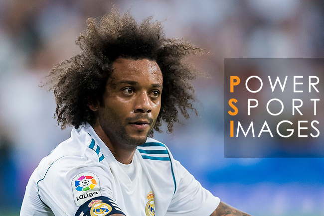 Marcelo Vieira Da Silva of Real Madrid reacts during their La Liga 2017-18 match between Real Madrid and Valencia CF at the Estadio Santiago Bernabeu on 27 August 2017 in Madrid, Spain. Photo by Diego Gonzalez / Power Sport Images