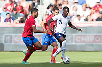 SANDY, UT - JUNE 10: Timothy Weah #21 of the United States moves with the ball during a game between Costa Rica and USMNT at Rio Tinto Stadium on June 10, 2021 in Sandy, Utah.