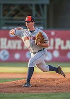 31 July 2016: Connecticut Tigers pitcher John Schreiber on the mound against the Vermont Lake Monsters at Centennial Field in Burlington, Vermont. The Lake Monsters edged out the Tigers 4-3 in NY Penn League action.  Mandatory Credit: Ed Wolfstein Photo *** RAW (NEF) Image File Available ***