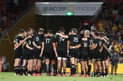 7th November 2020, Brisbane, Australia; Tri Nations International rugby union, Australia versus New Zealand;  Allblack players form a huddle after their loss