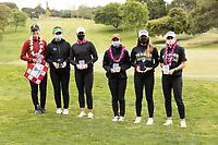 STANFORD, CA - APRIL 25: Rachel Heck, Briana Chacon, Linn Grant, YuSang Hou, Malia Nam, Amelia Garvey at Stanford Golf Course on April 25, 2021 in Stanford, California.