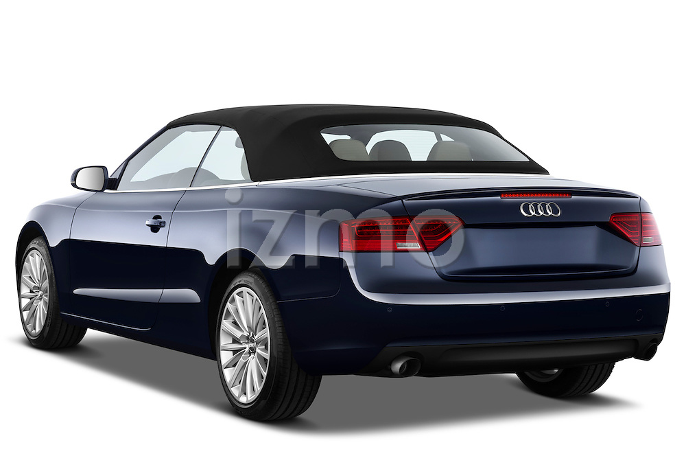 Rear three quarter view of a 2013 Audi A5 Convertible 2013 Audi A5 Convertible with the top up..