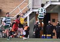 20th February 2021; Trailfinders Sports Club, London, England; Trailfinders Challenge Cup Rugby, Ealing Trailfinders versus Doncaster Knights; Craig Hampson of Ealing Trailfinders catches the high kick under pressure from Tom Bacon of Doncaster Knights