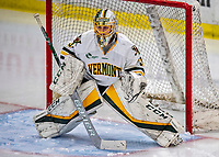 9 February 2020: University of Vermont Catamount Goaltender Blanka Škodová, a Sophomore from Šternberk, in the Czech Republic, in 3rd period action against the University of Connecticut Huskies at Gutterson Fieldhouse in Burlington, Vermont. The Lady Cats defeated the Huskies 6-2 in the second game of their weekend Hockey East series. Mandatory Credit: Ed Wolfstein Photo *** RAW (NEF) Image File Available ***
