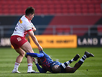 27th March 2021; Ashton Gate Stadium, Bristol, England; Premiership Rugby Union, Bristol Bears versus Harlequins; Henry Purdy of Bristol Bears tackles Cadan Murley of Harlequins
