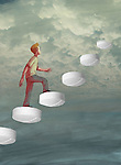 Illustration of man climbing up tablets towards cloudy sky representing drug addiction