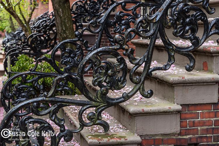 wROUGHT-IRON EMBELLISHMENTS in the South End neighborhood, Boston, Massachusetts, USA