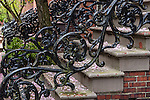 wROUGHT-IRON EMBELLISHMENTS in the South End neighborhood, Boston, Massachusetts, USA