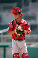 Boston Red Sox catcher Justin Qiangba (25) during a Florida Instructional League game against the Baltimore Orioles on September 21, 2018 at JetBlue Park in Fort Myers, Florida.  (Mike Janes/Four Seam Images)