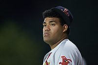 Enrique Perez (28) of the Johnson City Cardinals watches from the bullpen during the game against the Burlington Royals at Burlington Athletic Stadium on September 3, 2019 in Burlington, North Carolina. The Cardinals defeated the Royals 7-2 to even Appalachian League Championship series at one game a piece. (Brian Westerholt/Four Seam Images)