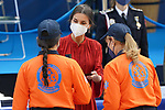 Queen Letizia of Spain with members of the Civil Protection service during the act on the occasion of the festival of 'San Juan Bautista', Patron of the Municipal Police of Madrid. June 24, 2021 (ALTERPHOTOS/Acero)