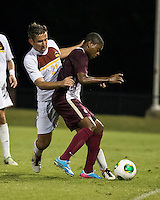 The Winthrop University Eagles played the College of Charleston Cougars at Eagles Field in Rock Hill, SC.  College of Charleston broke the 1-1 tie with a goal in the 88th minute to win 2-1.  Pietro Bottari (21), Adan Noel (7)