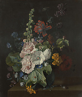 Full title: Hollyhocks and Other Flowers in a Vase<br /> Artist: Jan van Huysum<br /> Date made: 1702-20<br /> Source: http://www.nationalgalleryimages.co.uk/<br /> Contact: picture.library@nationalgallery.co.uk<br /> <br /> Copyright © The National Gallery, London