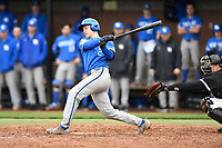 Shortstop Trey Dawson (2) of the Kentucky Wildcats bats in a game in the rain against the University of South Carolina Upstate Spartans on Saturday, February 17, 2018, at Cleveland S. Harley Park in Spartanburg, South Carolina. Kentucky won, 6-5, in 10 innings. (Tom Priddy/Four Seam Images)