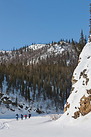 Cross country skiing along Wiseman creek, Brooks Range, Arctic, Alaska.