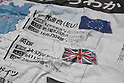 Front pages of Japanese newspapers after Britain vote to leave EU