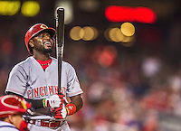 20 May 2014: Cincinnati Reds second baseman Brandon Phillips steps up to the plate during a game against the Washington Nationals at Nationals Park in Washington, DC. The Nationals defeated the Reds 9-4 to take the second game of their 3-game series. Mandatory Credit: Ed Wolfstein Photo *** RAW (NEF) Image File Available ***
