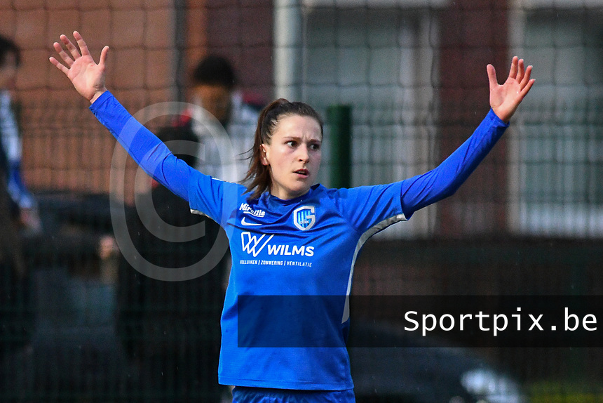 Gwen Duijsters (13) of KRC Genk celebrating her goal pictured during a female soccer game between  Racing Genk Ladies and SV Zulte-Waregem on the 7 th matchday of play off 2 in the 2020 - 2021 season of Belgian Scooore Womens Super League , friday 14 th of May 2021  in Genk , Belgium . PHOTO SPORTPIX.BE | SPP | JILL DELSAUX
