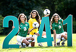 Three offers 2-for-1 tickets for Ireland Home Games..Daniella Moyles (left), Lynn Kelly and Aoife Cogan launch the Three latest initiative, 2-for-1 tickets.