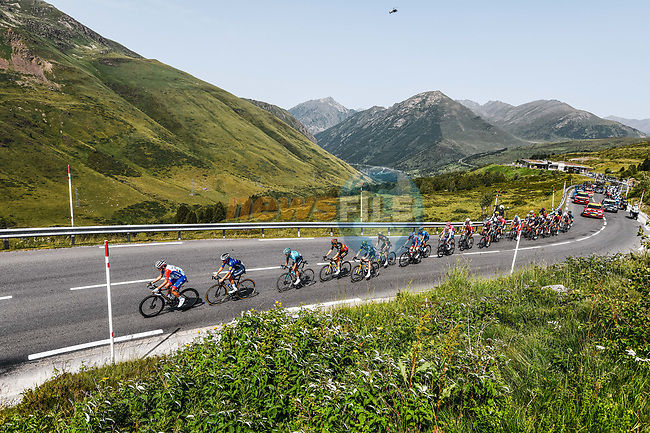 The breakaway during Stage 15 of the 2021 Tour de France, running 191.3km from Ceret to Andorre-La-Vieille, France. 11th July 2021.  <br /> Picture: A.S.O./Charly Lopez | Cyclefile<br /> <br /> All photos usage must carry mandatory copyright credit (© Cyclefile | A.S.O./Charly Lopez)