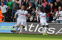 Pictured: (L-R) Mark Gower, Leroy Lita and Nathan Dyer of Swansea City. Saturday 17 September 2011<br /> Re: Premiership football Swansea City FC v West Bromwich Albion at the Liberty Stadium, south Wales.