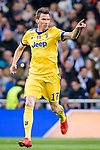 Mario Mandzukic of Juventus celebrates after scoring his goal during the UEFA Champions League 2017-18 quarter-finals (2nd leg) match between Real Madrid and Juventus at Estadio Santiago Bernabeu on 11 April 2018 in Madrid, Spain. Photo by Diego Souto / Power Sport Images